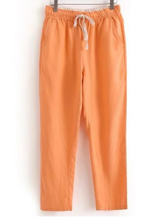 Coulissée poches Pantalons simple de couleur unie - Orange Rose XL