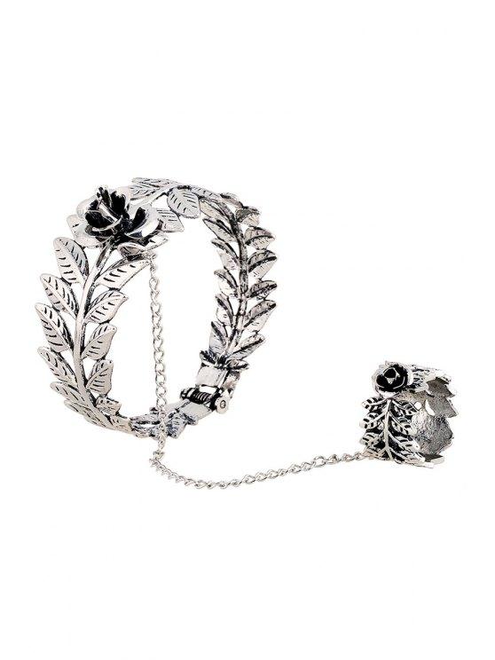 Flower Leaf Mitten Bracelet - SILVER  Mobile