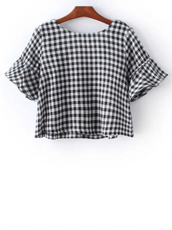 best Checked Flare Sleeve Round Neck T-Shirt - BLACK S