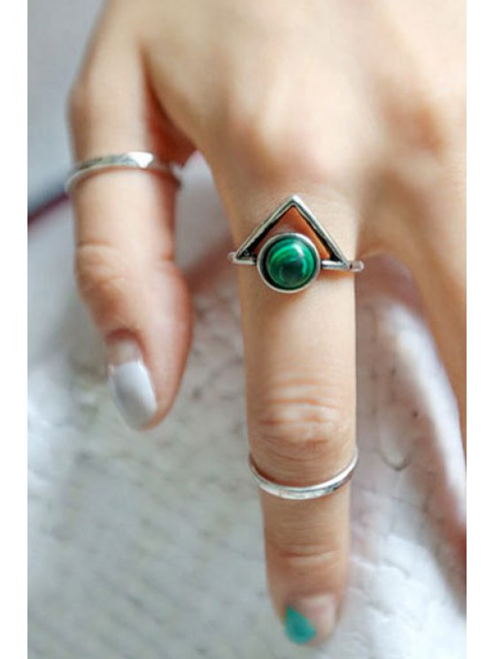 Bead Hollow Triangle Arrow Rings - SILVER  Mobile