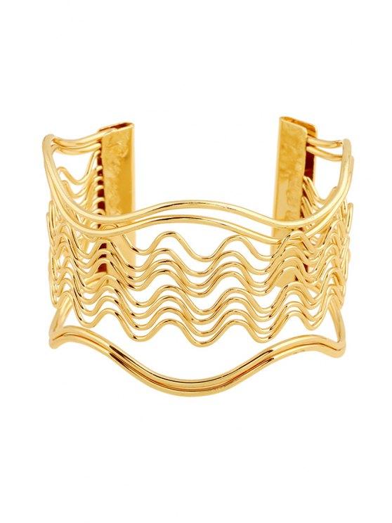 Hollow Out Wavy Striped Golden Bracelet - GOLDEN  Mobile