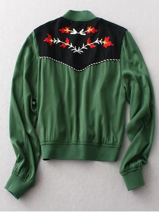 Floral Embroidery Long Sleeve Stand Neck Jacket - GREEN L Mobile