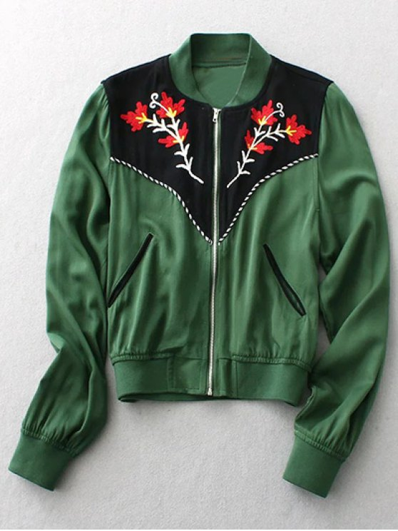 affordable Floral Embroidery Long Sleeve Stand Neck Jacket - GREEN M