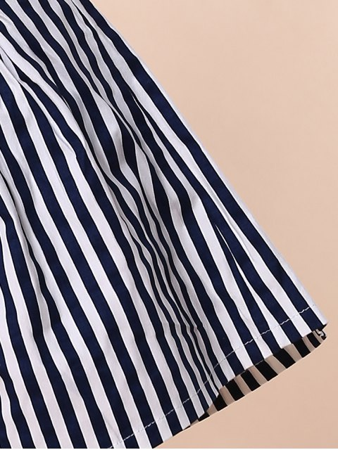 women Backless Crop Top with Striped Shorts - BLUE S Mobile