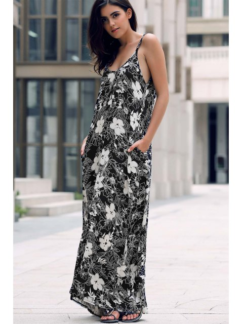women Low Cut Maxi Strap Long Tunic Dress - BLACK ONE SIZE(FIT SIZE XS TO M) Mobile