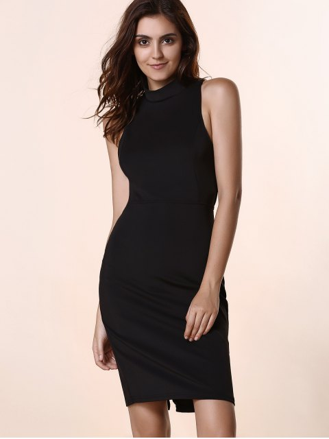 outfit Black Hollow Out Round Neck Sleeveless Dress - BLACK 2XL Mobile