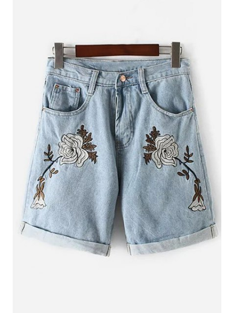 buy Floral Embroidery High Waisted Denim Shorts - LIGHT BLUE S Mobile