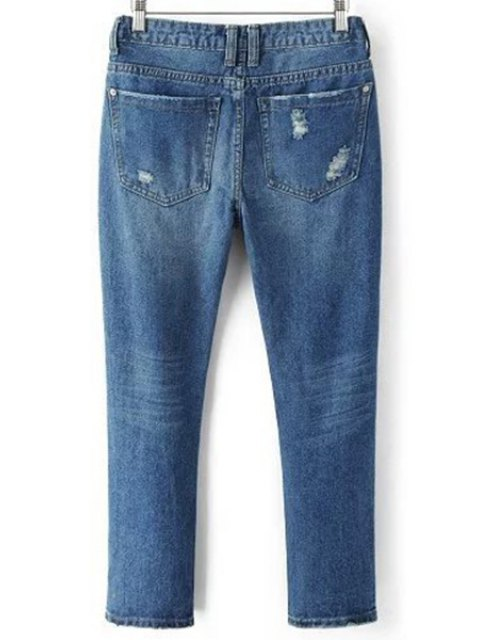 best Ripped Pockets Bleach Wash Jeans - DENIM BLUE L Mobile