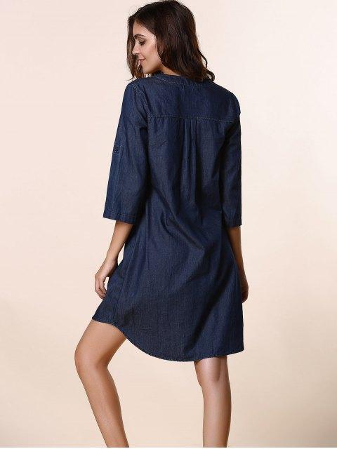 latest Lace Up Denim Tunic Dress - DEEP BLUE XL Mobile