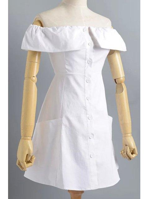 womens Cold Shoulder Button Front Closure Dress - WHITE S Mobile