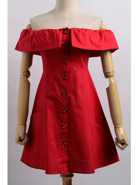 women Cold Shoulder Button Front Closure Dress - RED L Mobile