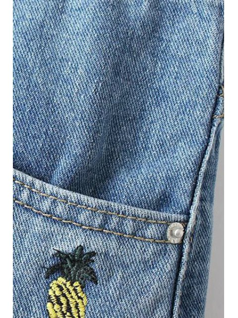 women Pineapple Embroidery High Waisted Denim Shorts - LIGHT BLUE L Mobile