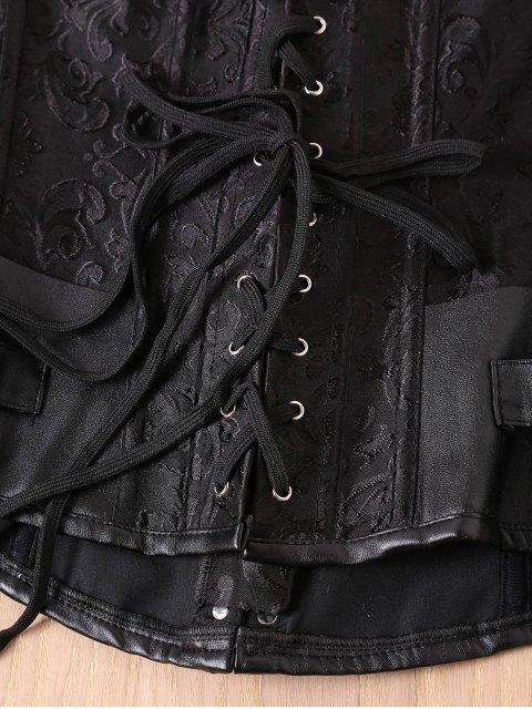 unique Alloy Buckle Steampunk Lace Up Corset - BLACK M Mobile
