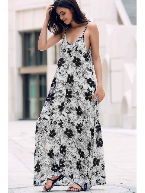 womens Low Cut Maxi Strap Long Tunic Dress - WHITE ONE SIZE(FIT SIZE XS TO M) Mobile