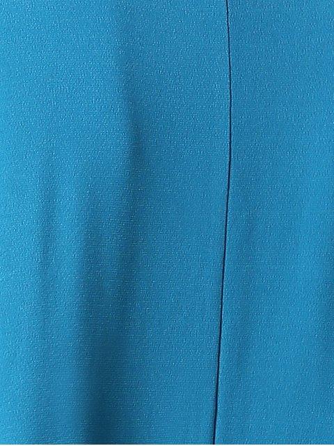 unique Solid Color Round Neck Short Sleeve Cold Shoulder Dress - BLUE M Mobile