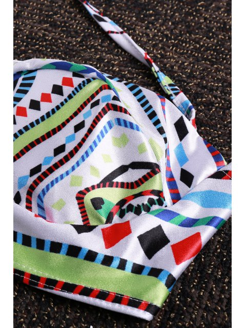chic Halter Neck Colorful Geometric Print Bikini Set - COLORMIX L Mobile