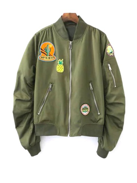 ladies Patch Design Stand Neck Long Sleeve Jacket - ARMY GREEN L Mobile