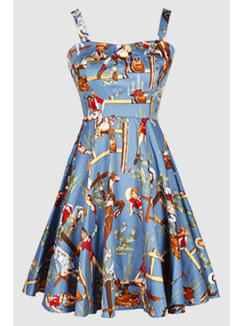 shop Printed Vintage Spaghetti Straps Ball Gown Dress - LIGHT BLUE M Mobile