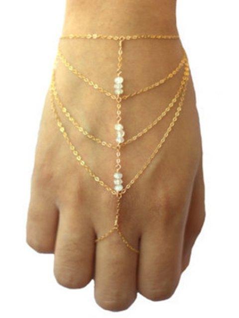 ladies Bead Multilayered Golden Wrist Chain - GOLDEN  Mobile