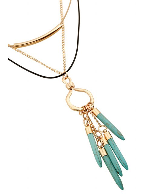 trendy Bullet Pendant Multilayered Necklace - GOLDEN  Mobile