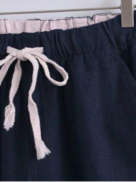 Coulissée poches Pantalons simple de couleur unie - Kaki Clair XL Mobile