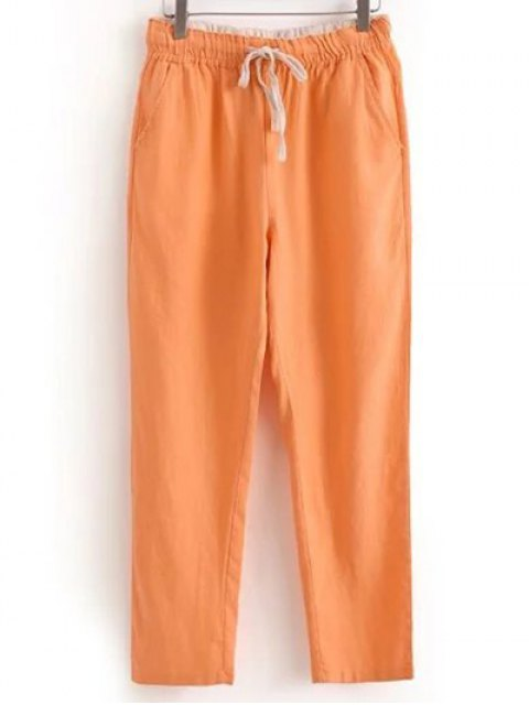 outfits Drawstring Casual Pockets Solid Color Pants - ORANGEPINK M Mobile