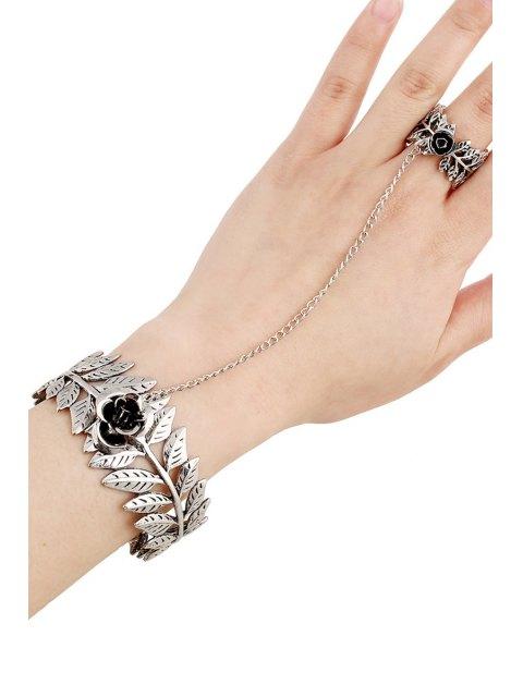 women Flower Leaf Mitten Bracelet - SILVER  Mobile