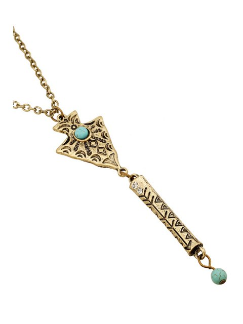 shops Bead Inlay Retro Pendant Necklace -   Mobile