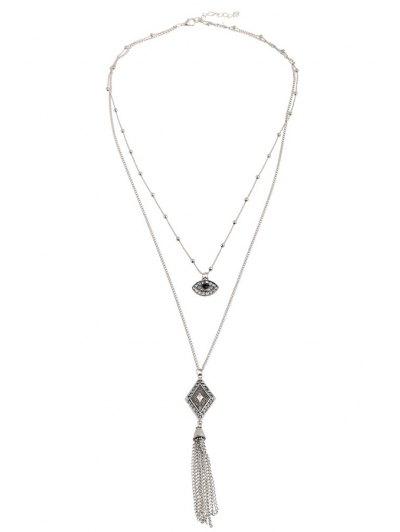 Eye Rhombus Tassel Pendant Necklace - SILVER  Mobile