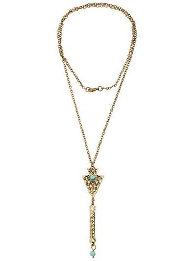 Bead Inlay Retro Pendant Necklace - GOLDEN  Mobile
