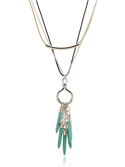 Bullet Pendant Multilayered Necklace - SILVER  Mobile