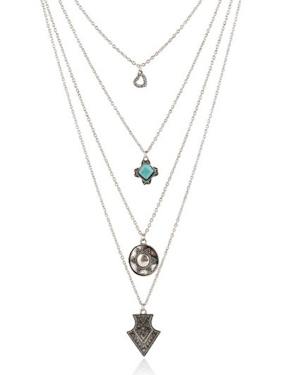 Tribal Style Pendant Multilayered Necklace - SILVER  Mobile