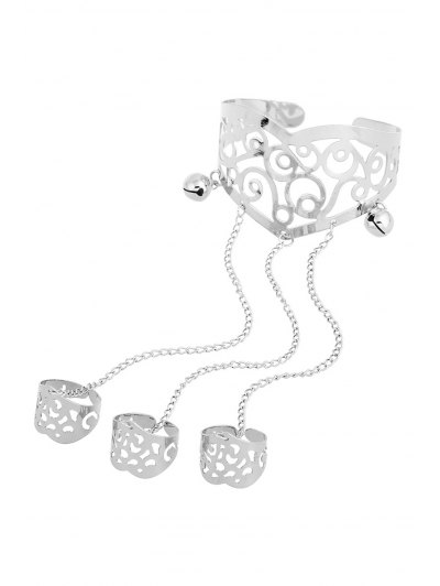 Bell Hollow Out Mitten Bracelet - SILVER  Mobile