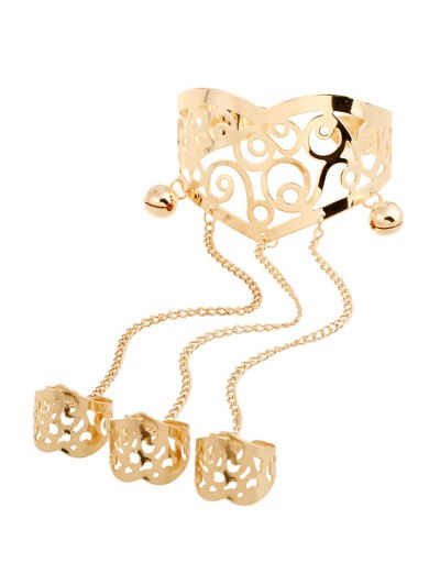 Bell Hollow Out Mitten Bracelet - GOLDEN  Mobile