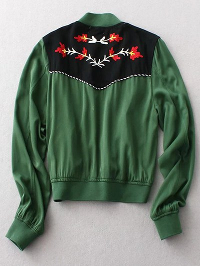 Floral Embroidery Long Sleeve Stand Neck Jacket - GREEN M Mobile