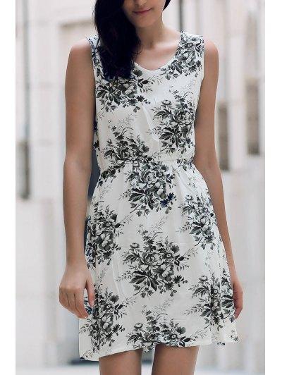 Printed Waisted Mini Dress - Dun