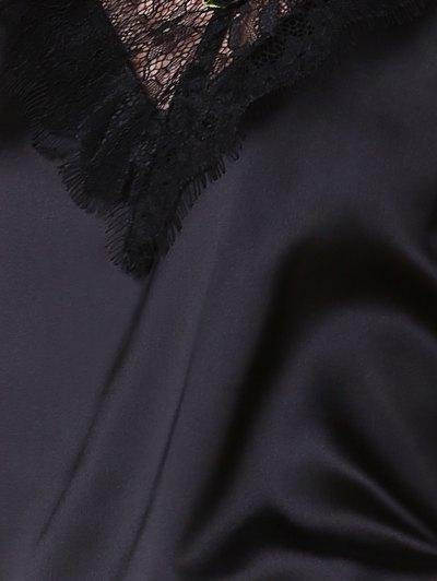 Open Back Lace Splicing Spaghetti Straps Dress - BLACK 2XL Mobile