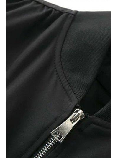 Patch Design Stand Neck Long Sleeve Jacket - BLACK L Mobile