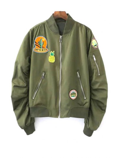 Patch Design Stand Neck Long Sleeve Jacket - ARMY GREEN S Mobile