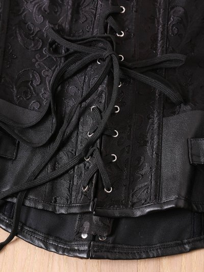Alloy Buckle Steampunk Lace Up Corset - BLACK M Mobile