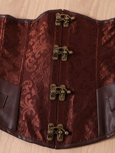 Alloy Buckle Steampunk Lace Up Corset - BROWN 2XL Mobile