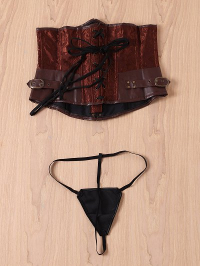 Alloy Buckle Steampunk Lace Up Corset - BROWN M Mobile
