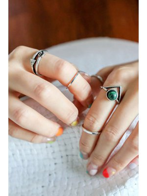 Bead Hollow Triangle Arrow Rings - Silver