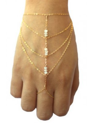 Bead Multilayered Golden Wrist Chain