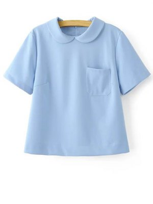 Solid Color Peter Pan Collar Short Sleeve Pocket T-Shirt - Light Blue