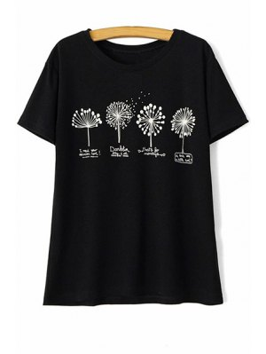 Dandelion Print Round Neck Short Sleeve T-Shirt - Black