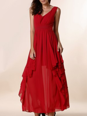 Ruffles Plunging Neck Formal Maxi Dress - Red