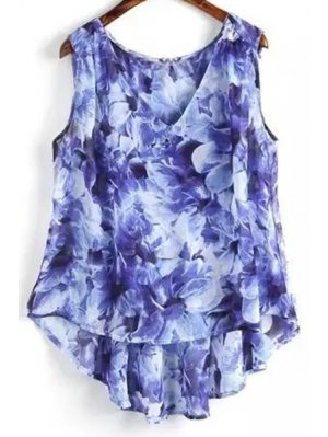 Flower Print V Neck High Low Tank Top - Blue