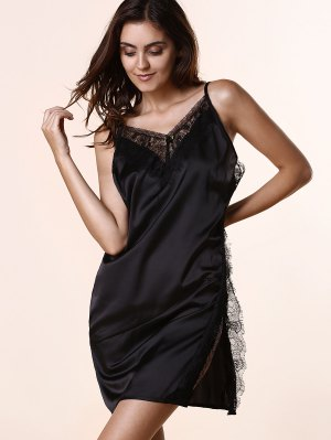 Open Back Lace Splicing Spaghetti Straps Dress - Black