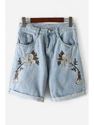 Floral Embroidery High Waisted Denim Shorts - Light Blue